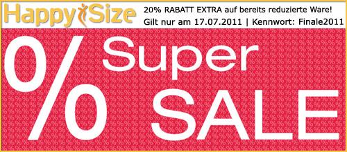 20% RABATT EXTRA auf bereits reduzierte Ware bei Happy Size nur am Sonntag 17.07.11